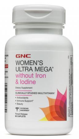 GNC Womens Ultra Mega without Iron & Iodine, 90 каплет