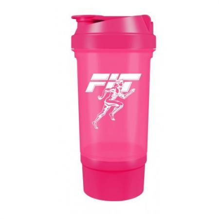 Шейкер Fit MY Drink+контейнер, 500 мл - розовый неон