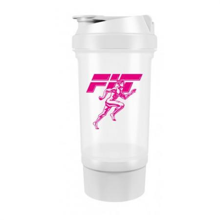 Шейкер Fit MY Drink+контейнер, 500 мл - бело-розовый цвет