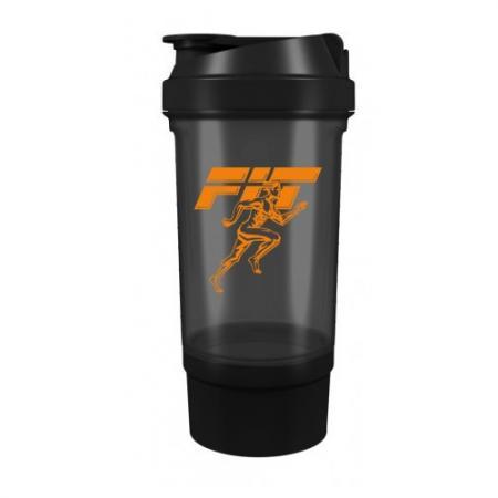 Шейкер Fit MY Drink+контейнер, 500 мл - черно-оранжевый цвет