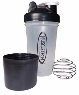 Шейкер Muscletech с пружинкой + контейнер, 500 мл - прозрачный