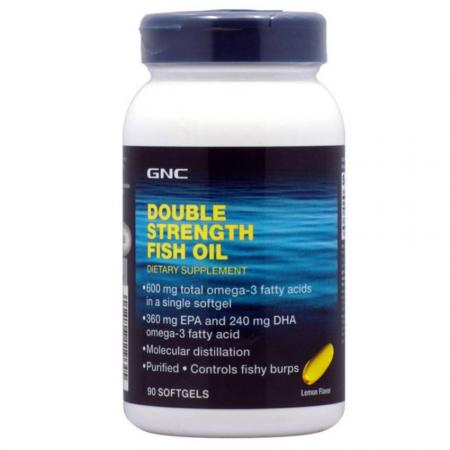 GNC Double Strength Fish Oil, 90 капсул