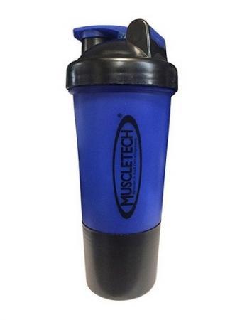 Шейкер Muscletech с пружинкой + контейнер, 500 мл - синий