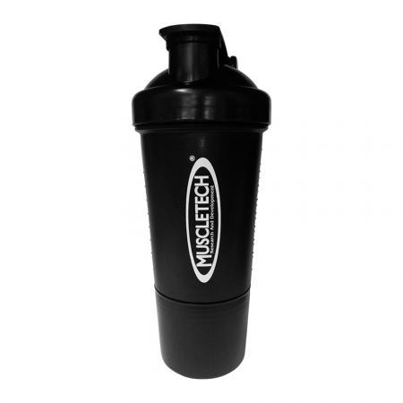 Шейкер Muscletech с пружинкой + контейнер, 500 мл - черный