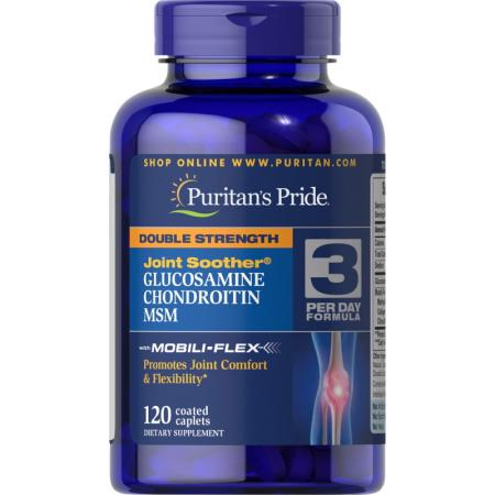 Puritans Pride Double Strength Chondroitin Glucosamine MSM, 120 каплет