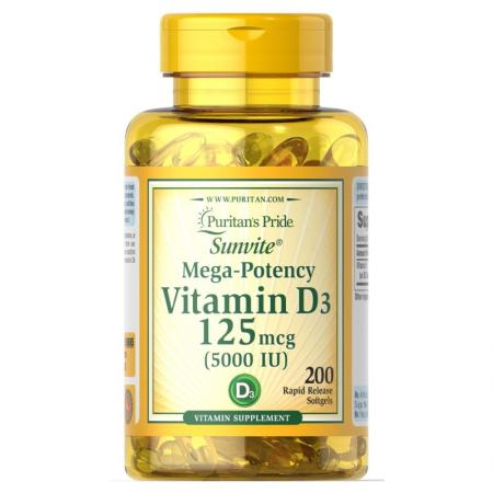 Puritans Pride Vitamin D3 5000, 200 капсул