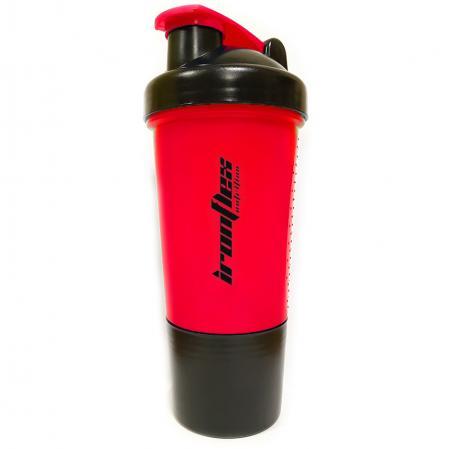 Шейкер IronFlex с пружинкой + контейнер, 500 мл - красный