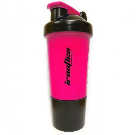 Шейкер IronFlex с пружинкой + контейнер, 500 мл - розовый