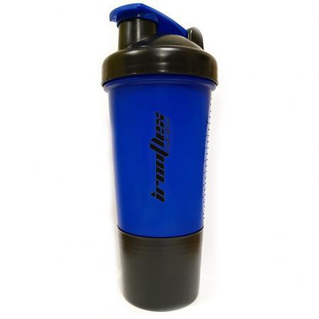 Шейкер IronFlex с пружинкой + контейнер, 500 мл - синий
