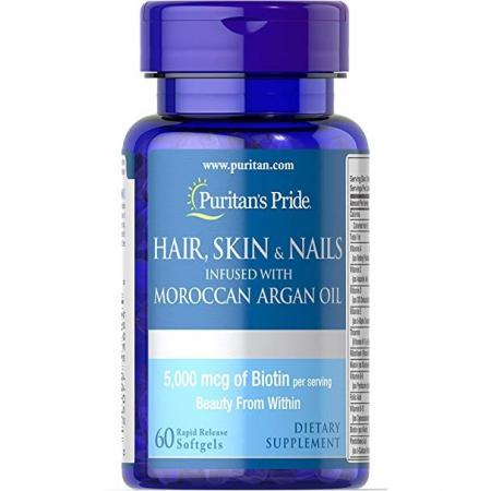 Puritans Pride Hair Skin Nails infused with Moroccan Argan oil, 60 таблеток
