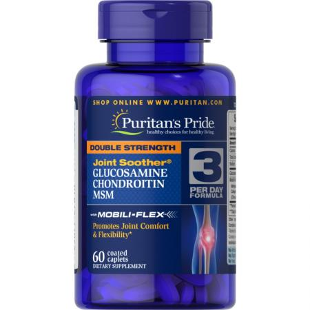 Puritans Pride Double Strength Chondroitin Glucosamine MSM, 60 каплет