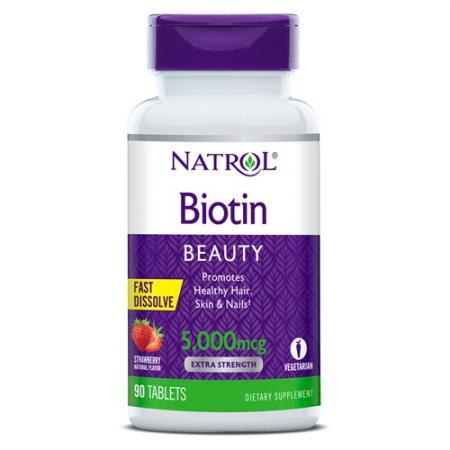 Natrol Biotin 5000 mcg, 90 таблеток - клубника