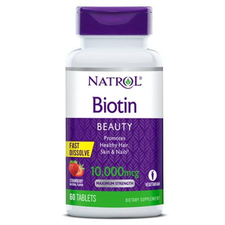 Natrol Biotin 10000 mcg, 60 таблеток - клубника