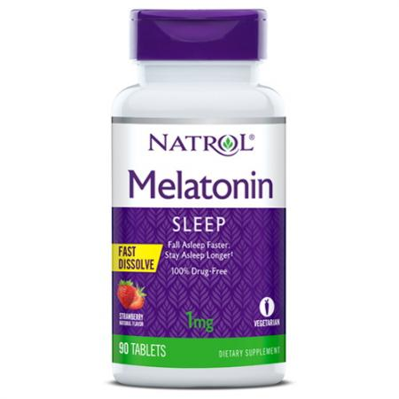 Natrol Melatonin 1mg Fast Dissolve, 90 таблеток - клубника