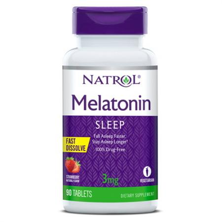 Natrol Melatonin 3mg Fast Dissolve, 90 таблеток - клубника