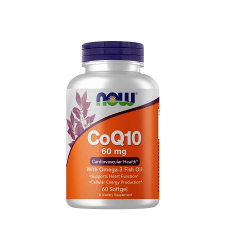 NOW CoQ-10 60 mg with Omega-3 Fish Oil, 60 капсул