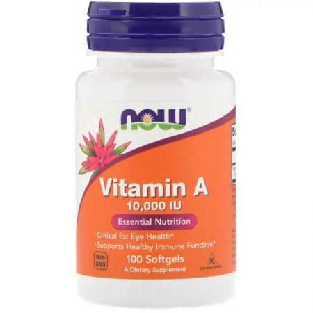 NOW Vitamin A 10000IU, 100 капсул