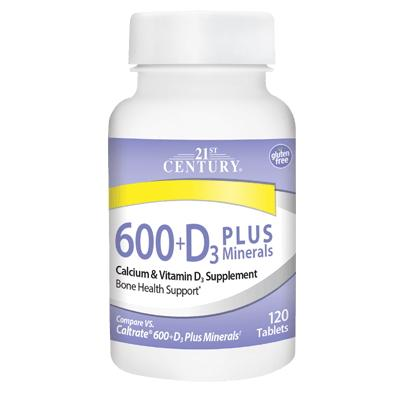 21st Century Calsium 600 + D3 Plus Minerals, 120 таблеток