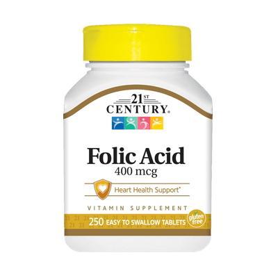 21st Century Folic Acid 400 mcg, 250 таблеток