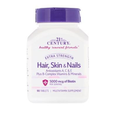 21st Century Hair Skin & Nails Extra Strength, 90 таблеток