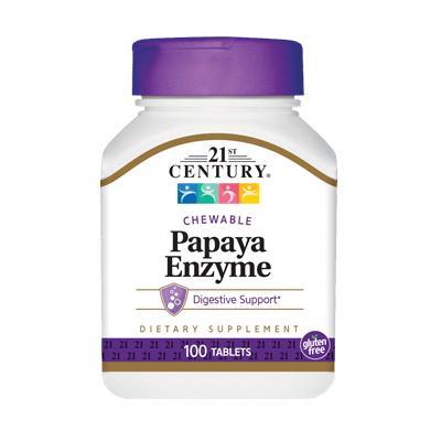 21st Century Papaya Enzyme, 100 жевательных таблеток