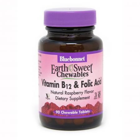 Bluebonnet Earth Sweet Chewables Vitamin В12 & Folic Acid, 90 жевательных таблеток
