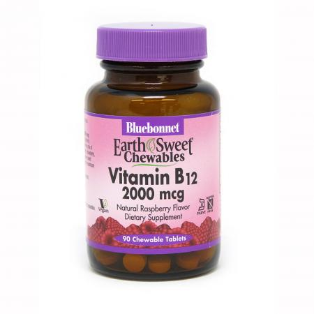 Bluebonnet Earth Sweet Chewables Vitamin В12 2000 mcg, 90 жевательных таблеток