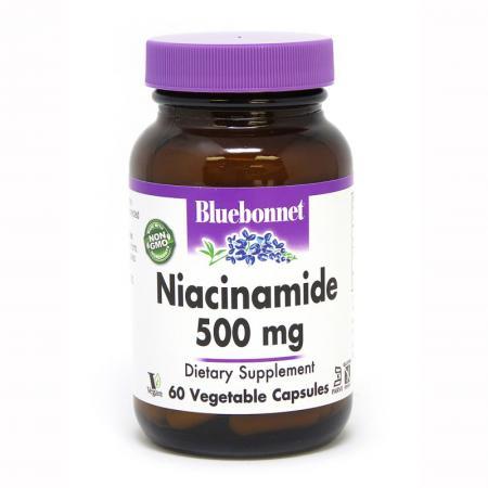 Bluebonnet Niacinamide 500 mg, 60 вегакапсул