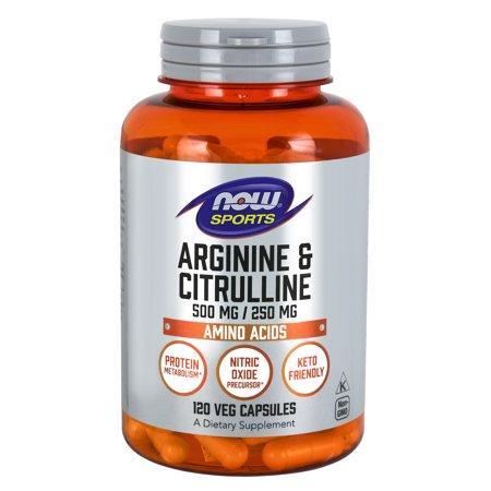 NOW Arginine and Citrulline, 120 вегакапсул