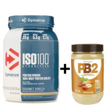 Dymatize ISO-100 725 грамм + PB2 Порошковая арахисовая паста, 454 грамм, SALE