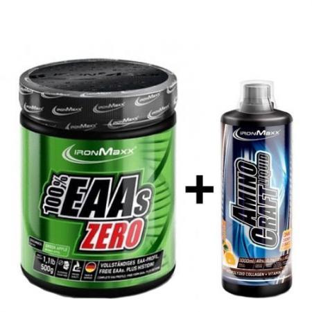 IronMaxx 100% EAAs Zero, 500 грамм + AminoCraft Liquid, 1000 мл, SALE
