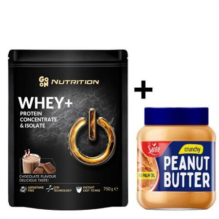 GoOn Whey WPC+ISO 750 грамм + Sante Peanut butter crunchy 350 грамм, SALE