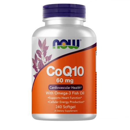 NOW CoQ-10 60 mg with Omega-3 Fish Oil, 240 капсул