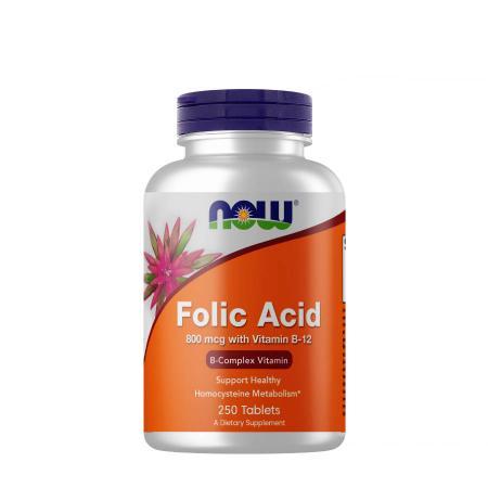 NOW Folic Acid 800 mcg with Vitamin B12, 250 таблеток