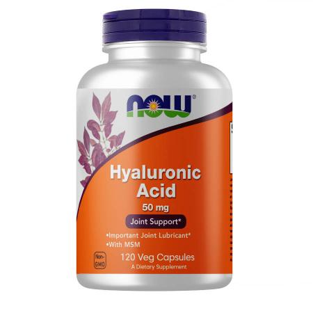 NOW Hyaluronic Acid with MSM, 120 вегакапсул