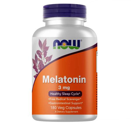 NOW Melatonin 3 mg, 180 вегакапсул