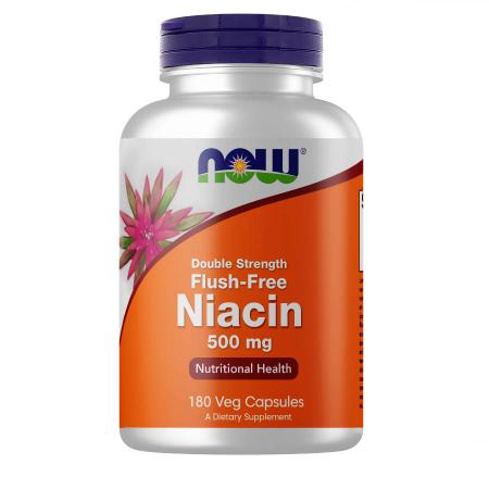 NOW Flush-Free Niacin 500 mg, 180 вегакапсул