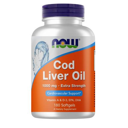 NOW Cod Liver Oil 1000 mg, 180 капсул