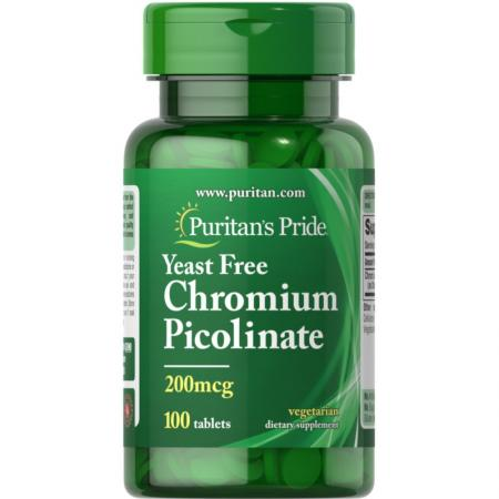 Puritans Pride Chromium Picolinate 200 mcg Yeast Free, 100 таблеток