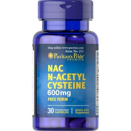 Puritans Pride N-Acetyl Cysteine 600 mg, 60 капсул