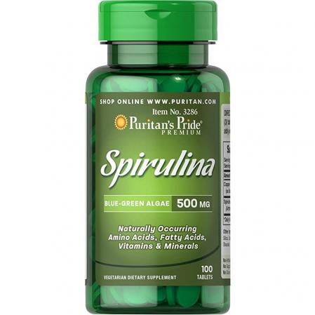 Puritans Pride Spirulina 500 mg, 100 таблеток