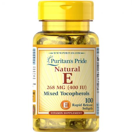 Puritans Pride Vitamin E-200 IU Mixed Tocopherols Natural, 100 капсул