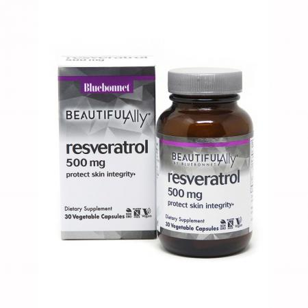 Bluebonnet Resveratrol 500 mg, 30 вегакапсул - Beautiful Ally