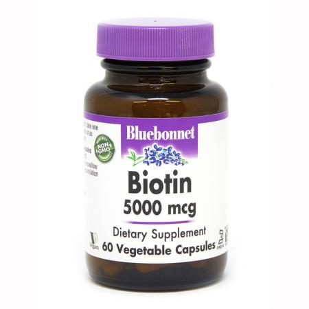 Bluebonnet  Biotin 5000 mg, 60 вегакапсул