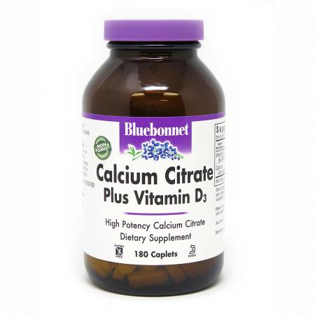Bluebonnet Calcium Citrate plus Vitamin D3, 180 каплет