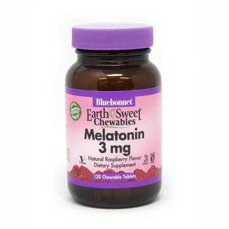 Bluebonnet Earth Sweet Chewables Melatonin 3 mg, 120 жевательных таблеток