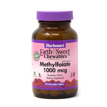 Bluebonnet Earth Sweet Chewables Methylfolate 1000 mcg, 90 жевательных таблеток