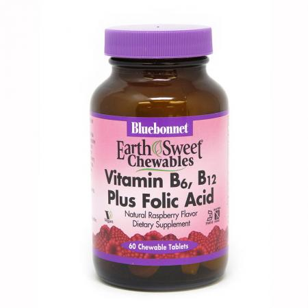 Bluebonnet Earth Sweet Chewables Vitamin В6 Vitamin В12 and Folic Acid, 60 жевательных таблеток