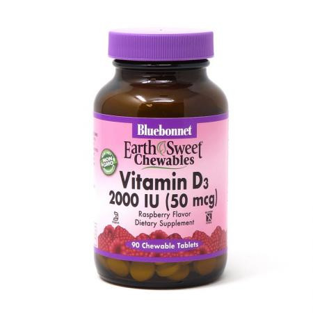 Bluebonnet Earth Sweet Chewables Vitamin D3 2000 IU, 90 жевательных таблеток