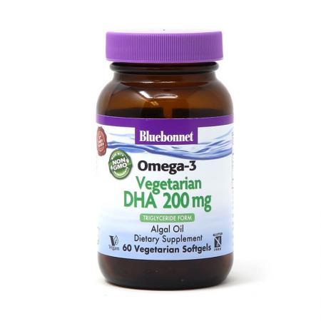 Bluebonnet Omega 3 Vegetarian DHA 200 mg, 60 вегакапсул